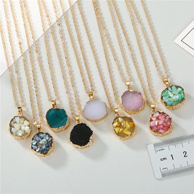 Dayoff 9 Styles European Resin Stone Round Pendant Necklace for Women Womens Broken Stone Chain Necklace for Female N558