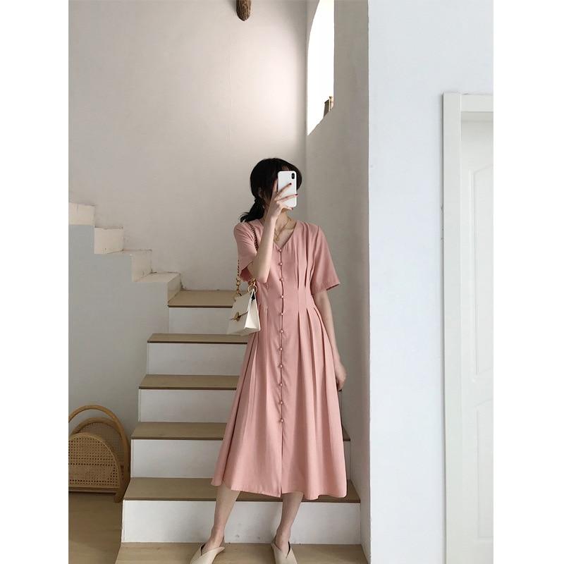 French Retro Dress Very Fairy Summer New Style Yamamoto Over-the-Knee Platycodon Grandiflorum Wisdom Smoked V-neck Dress Women's