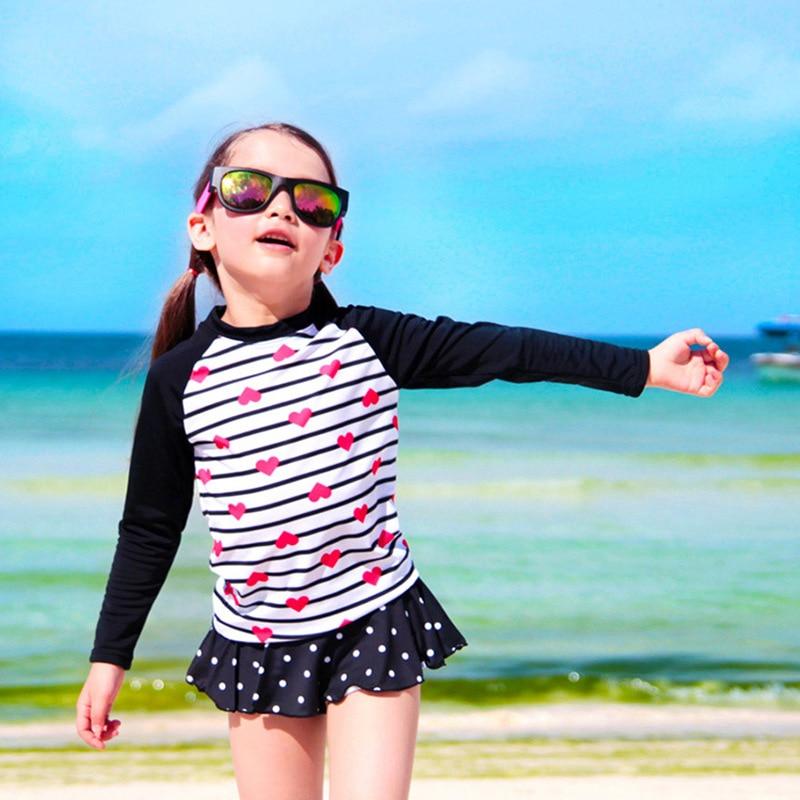 South Korea New Style Split Type KID'S Swimwear Girls Swimwear Long Sleeve Boxers Skirt Sun-resistant Little Big Child GIRL'S Sw