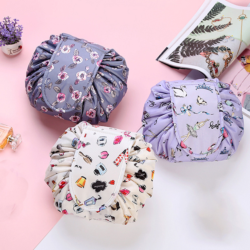 Women Fashion Drawstring Travel Cosmetic Bag Makeup Bag Organizer Make Cosmetic Bag Case Storage Pouch Toiletry Beauty Kit Box30