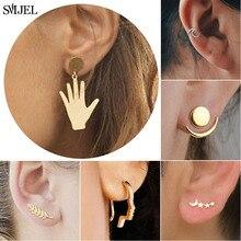 SMJEL Trendy Bohemian Vintage Earrings Jewelry Korean Style Hand Star Moon Wave Leaf Stud Earring piercing Best Gift for Women полотенцесушитель электрический сунержа галант 2 0 00 5200 1040
