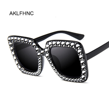 Oversized Sunglasses Women Top Rhinestone Luxury Br