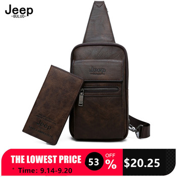 JEEP BULUO High Quality Split Leather Shoulder Crossbody Bag Men Chest Bags For Young Man Famous Brand Sling Bags jeep buluo men messenger bag high quality handbags man s black business split leather shoulder bags for men tote 2019 new