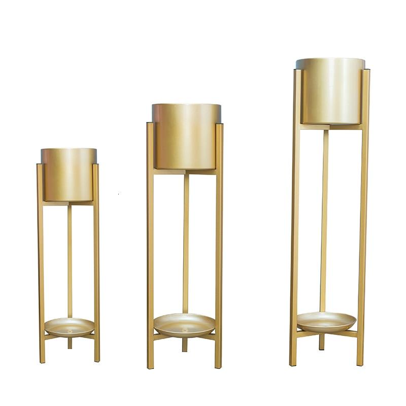 Living Room Iron Art Metal Originality Modern Simplicity To Ground Golden Decorate Indoor Green Luo Flowerpot Shelves