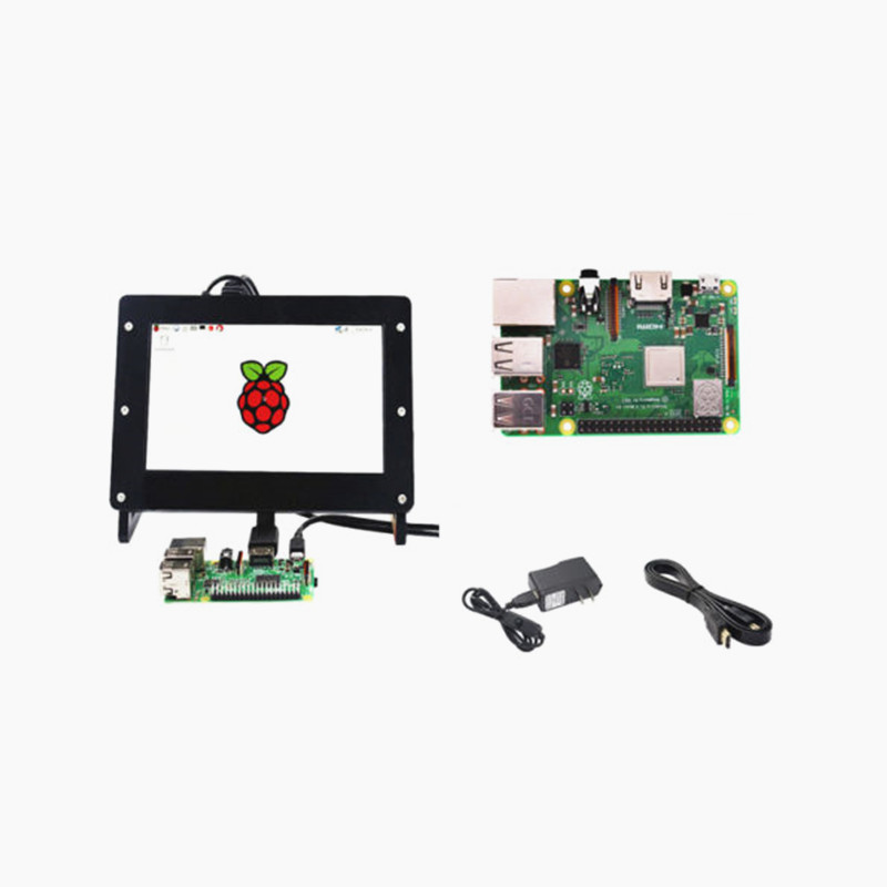 Raspberry Pi 3 B+ Starter Kit  7 inch 1024x600 Display + Case + Power Adapter + HDMI Cable-in Demo Board from Computer & Office