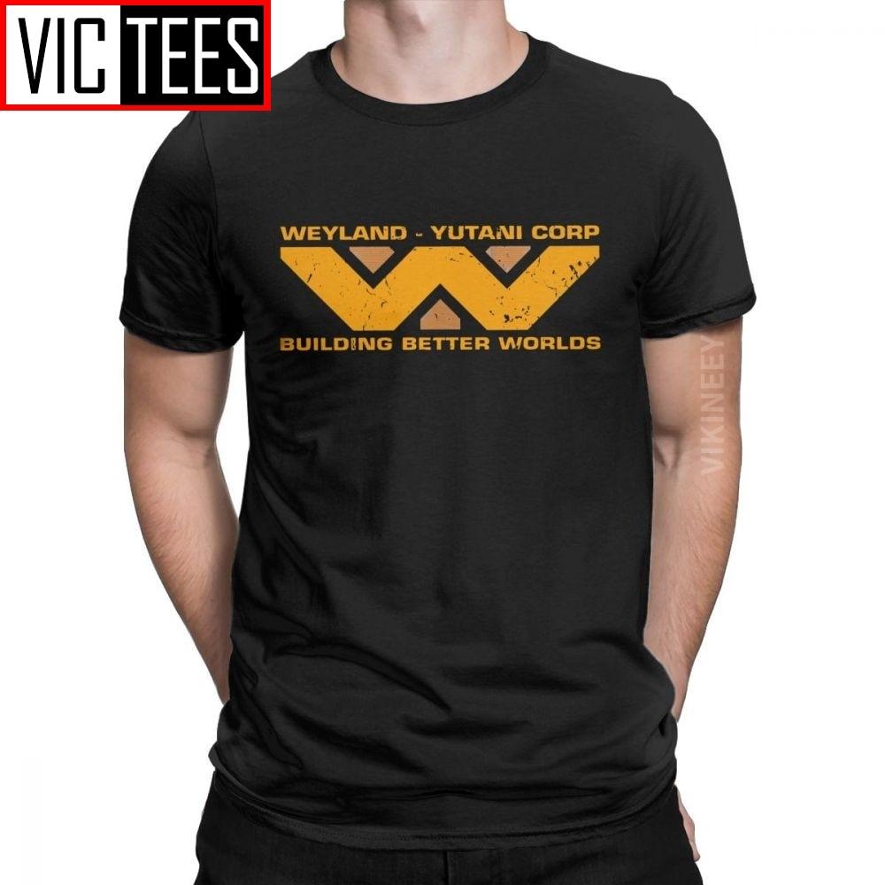 Men's T-Shirt Alien Building Better Worlds Weyland Yutani Corp Casual Pure Cotton Scifi Tshirt Clothes