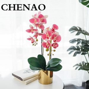 CHENAO High End Customization Colourful Phalaenopsis Hollow Metal Flower Rack Low Key Luxur Living Room Decorations W/ Vase