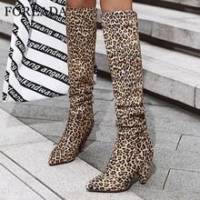 FOREADA Leopard Extreme High Heel Woman Boots Over The Knee Boots Spike Heel Long Boots Pointed Toe Lady Shoes Autumn Winter 46 zipper knee high thin heel boots leather sexy red long boots high heel over knee pointed toe sexy party shoes