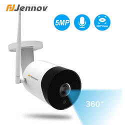 Jennov 5MP zewnętrzne panoramiczne rybie oko kamery nadzoru WIFI kamera bezprzewodowa wysokiej rozdzielczości widzenie nocne z wykorzystaniem podczerwieni Camhi APP w Kamery nadzoru od Bezpieczeństwo i ochrona na