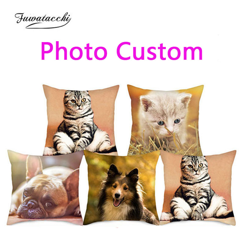 Fuwatacchi Cushion Cover Double Sided Optional Print Customize Gift Throw Pillowcase Print Personal Photos For Pillow Covers