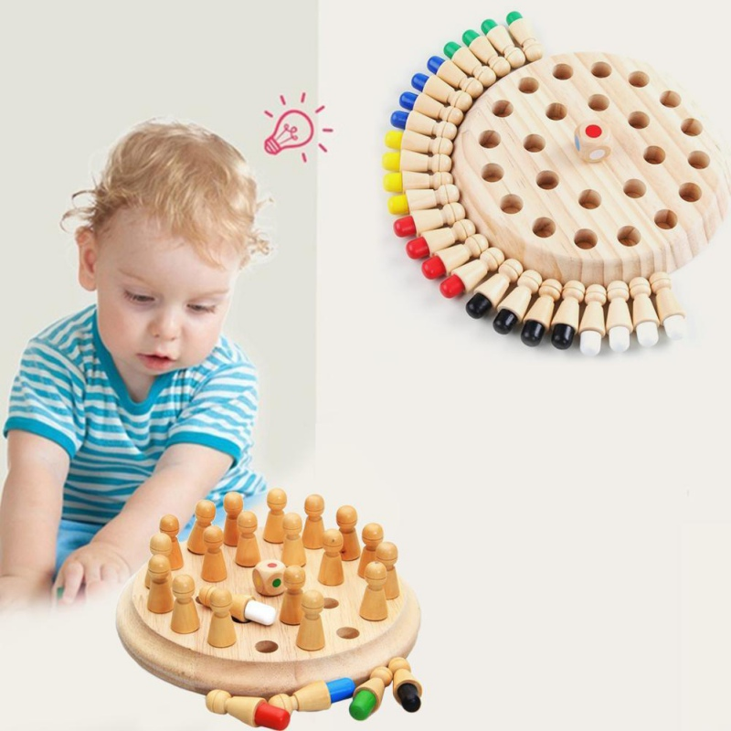 NEW Wooden Memory Matchstick Chess Game Kids Educational Toys Brain Training Gifts