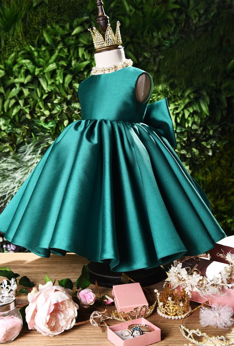 18 Little Flower Girls Dresses for Girls Big bow back Satin ...