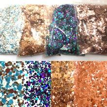 50 г/пакет объемные блестящие круглые/в форме звезды/бабочки конфетти Блестки для ногтей 1 мм 2 мм 3 мм голографические блестки DIY принадлежности для ногтей