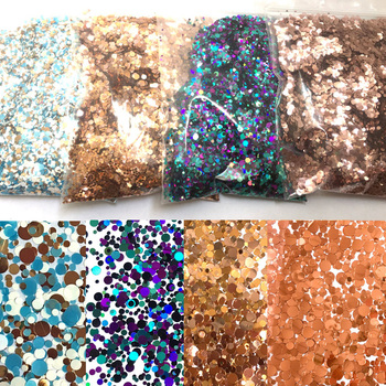 50g/bag Bulk Glitter Round/Star/Butterfly Shape Confetti Nail Sequins 1mm 2mm 3mm Holographic  DIY Supplies