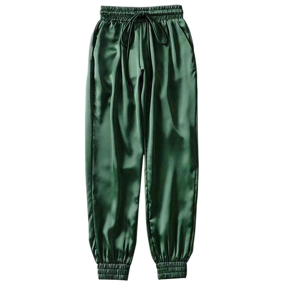 2019 가을 겨울 블랙 새틴 조깅 여성 바지 높은 허리 바지 스웨트 바지 녹색 새틴 바지 여성 운동복