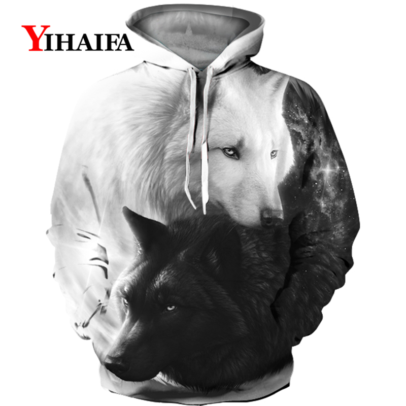 Men <font><b>Hoodies</b></font> <font><b>3D</b></font> Couple Wolf Print Harajuku <font><b>Animal</b></font> Graphic Sweatshirts Casual Pullover <font><b>Unisex</b></font> Streetwear Hip Hop Hoodie Tops image