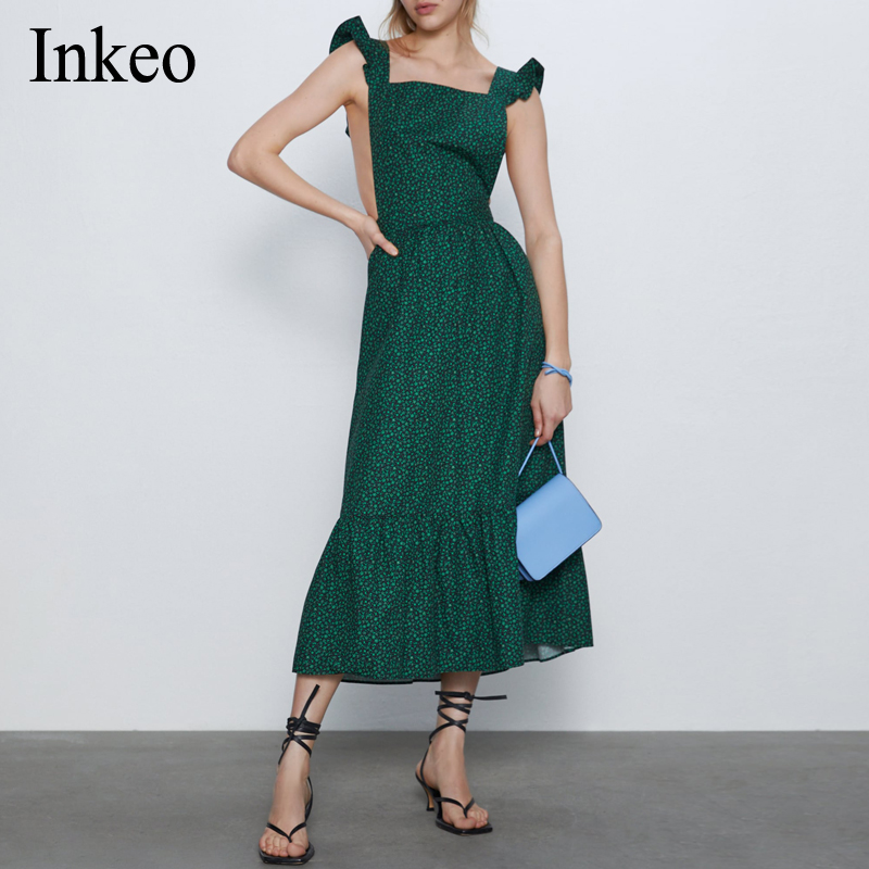 2020 Summer Holiday Floral Print Maxi Dress Sexy Sleeveless Backless Female Strap Dress Loose Beach Vestidos Elegant INKEO 9D119