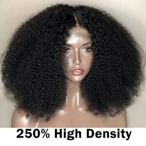 Image 4 - Afro Kinky kıvırcık dantel ön peruk 13x6 kısa Bob İnsan saç peruk 250 yoğunluk U parçası peruk brezilyalı Frontal peruk bakire 4B 4C Dolago