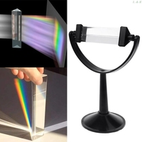 Optical Glass Triple Triangular Prism with Stand for Physics Light Spectrum Teaching|Prisms| |  -