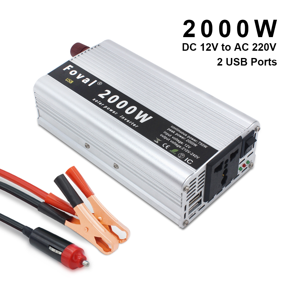 Car Power Inverter 2000W Watt DC 12V/24V to AC 220V Portable  Charger Converter Adapter  Modified Sine Wave Power inverter