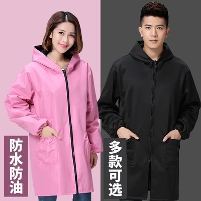 Edge Plush Protective Clothing Winter Thick Cleaning Hooded Overclothes Women's Winter Long Mid-length Winter College Student Re