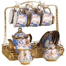 22 Pcs European Ceramic Tea Sets China Coffee Set with Metal Holder Cups Saucer Service for 6 Teapot Sugar Bowl Creamer Pitcher