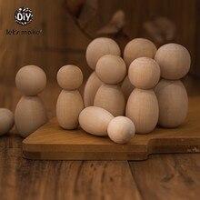 Let's Make – poupées en bois faites à la main, pour fille et garçon, décor de chambre d'enfants, bricolage inachevé, bagages vierges