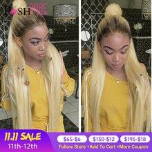 Ombre 1B 613 peluca con malla frontal cabello humano sin pegamento Color rubio indio Remy prearrancado con Peluca de pelo de bebé para mujeres negras