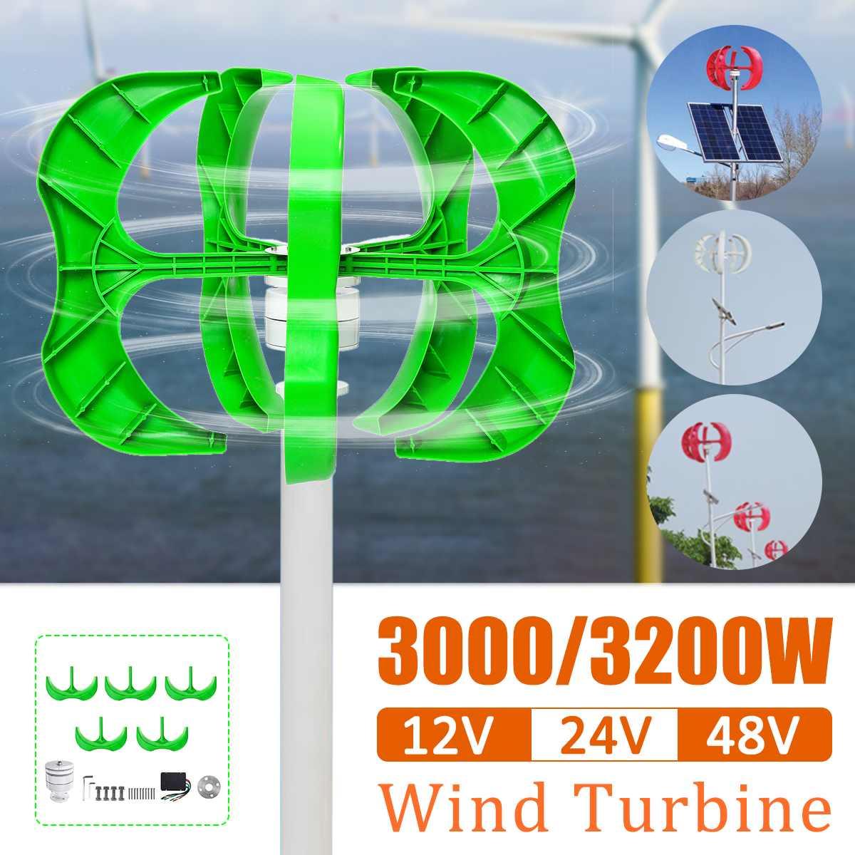 Éolienne 3200 W/3000 W 5 pales générateur 12/24/48V lanterne éoliennes axe Vertical pour lampadaire domestique + Controlle