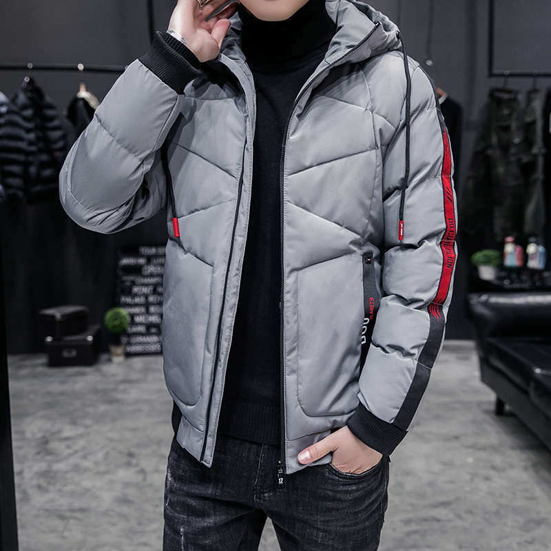 2019 New Fashion Fit Hooded Men Parkas Slim Solid Color Mens Coat Casual Thick Windbreakers Winter Outwear Male Cotton Padded 12