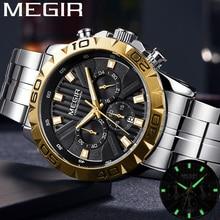 Megir relógio masculino de aço inoxidável do esporte militar relógio de pulso da marca superior luxo cronógrafo data 2087