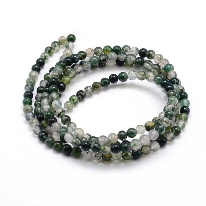 November Coupons Smooth Round Moss Agates Beads Sold By Strand for Jewelry Making