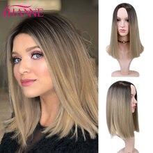 HANNE pelucas sintéticas cortas y rectas, pelucas de Bob africano americano, pelucas de color negro/marrón a rubio/rosa para mujeres negras o blancas