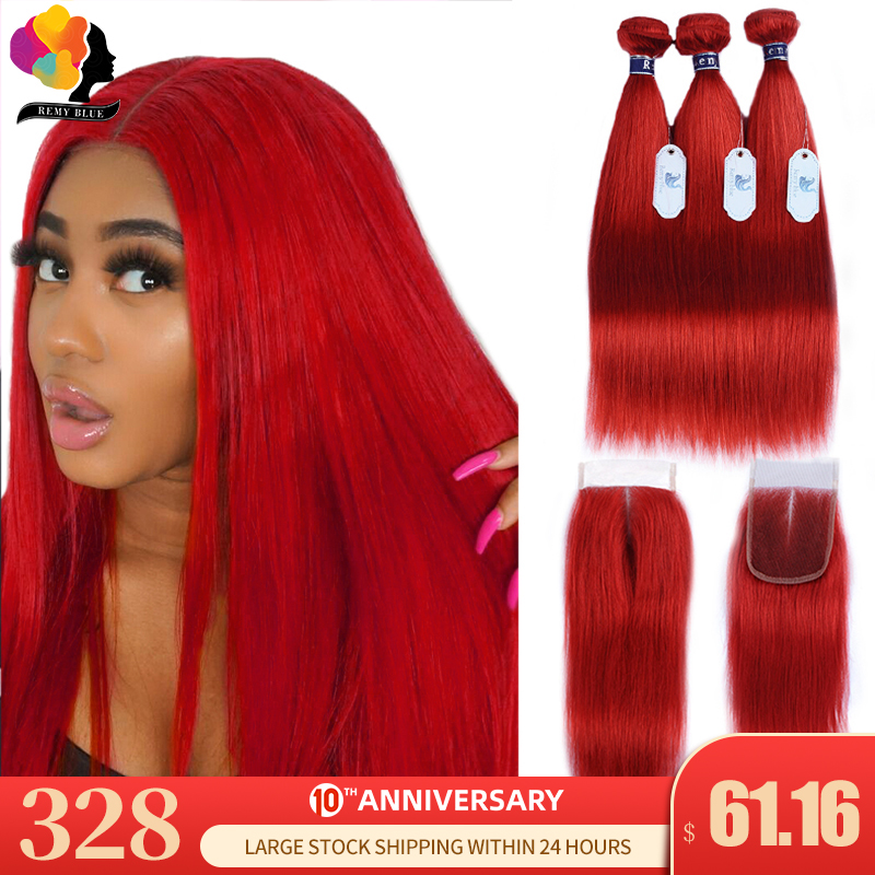 Remyblue Red Bundles With Closure Colored 99J Burgundy Brazilian Hair Straight Human Hair 3 Bundles With Closure Remy Hair Weave