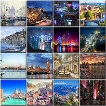 Cidade noite pintura a óleo por números paisagem colorir diy kit pintados à mão imagem desenho sobre tela para adultos decoração de casa