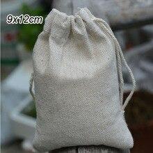 """リネンジュエリーギフトバッグポーチ9x12センチメートル (3 4/8 """"x4 6/8"""") カスタムロゴパーティーキャンディー袋ジュート巾着袋"""