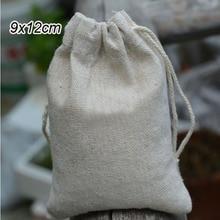 """Лен, ювелирное изделие, подарок мешок 9x12 см (3 4/8 """"x4 6/8"""") изготовленным на заказ логосом мешок для конфет на вечеринку мешок из натурального джута рюкзак на шнурке"""