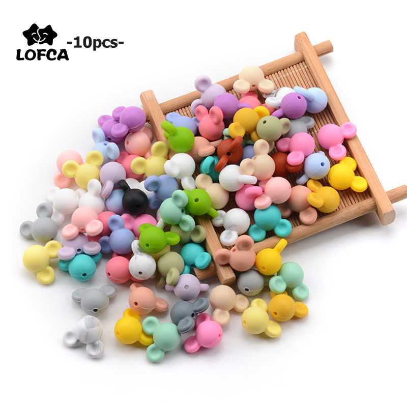LOFCA 10pcs/lot Mickey Silicone Beads Baby Teether Toy Soft Chew Teething BPA Free DIY Charm Necklace Food Grade Jewelry
