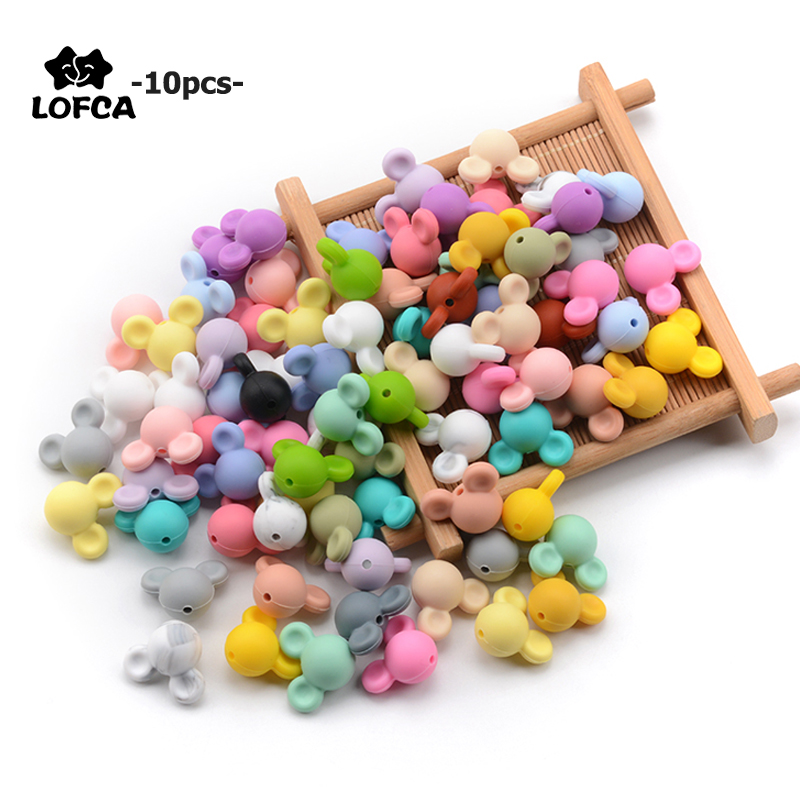 LOFCA 10pcs/lot Mouse Silicone Beads Baby Teether Toy Soft Chew Teething BPA Free DIY Charm Necklace Food Grade Jewelry(China)
