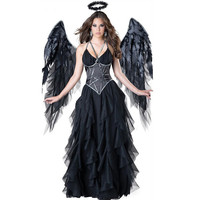 Halloween Ladies Costume Dark Devil Evil Angel Costume Sexy Dress Women Fancy Dress Party Party Dress Cosplay Black Dress Girl