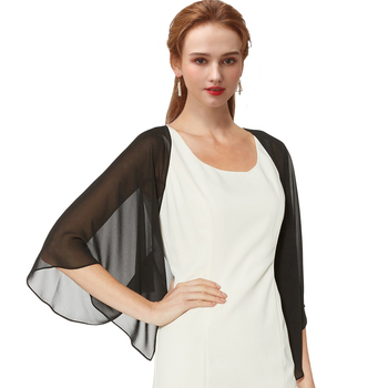 Women Black Evening Dress Chiffon Stole Prom Party V-neck with Button Shrug Elegant Simple Soft Casual Bolero for Lady 11 Colors 4