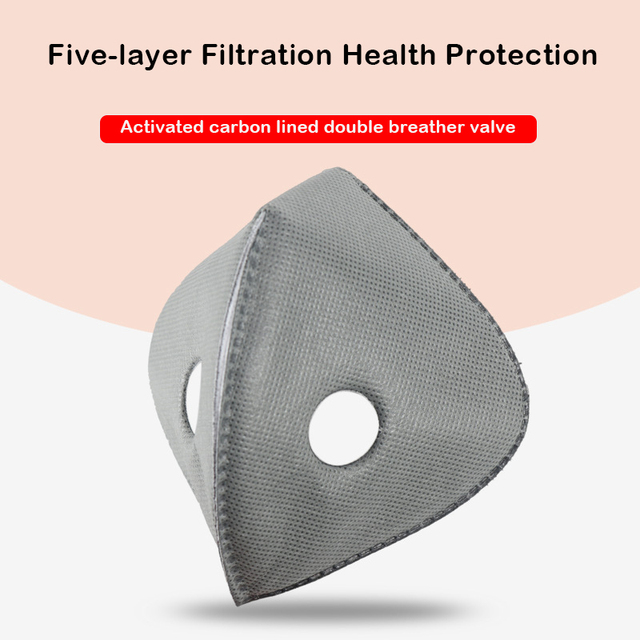 2 pcs PM2.5 black mouth mask dustproof activated carbon filter windproof bacteria-proof flu-proof face masks care 3