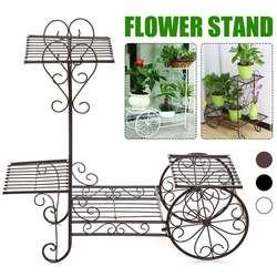 Europejskie 4 warstwy rośliny stoją stojak na roślinę doniczkową metalowy kwiat stojak roślina doniczkowa półki wielopoziomowy odkryty metalowy podłogowy półka balkon w Półki dla roślin od Meble na