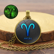 Retro twelve constellations Luminous pendant necklace Alloy glass cover light Statement Girl birthday present
