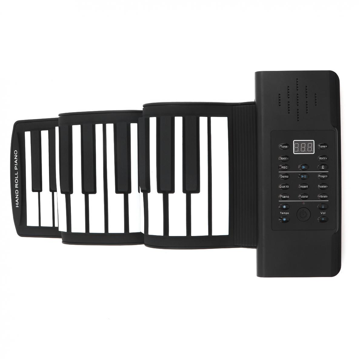 Купить с кэшбэком 61 Keys USB MIDI Output Roll Up Piano Rechargeable Portable Electronic Silicone Flexible Keyboard Organ Built-in Speaker