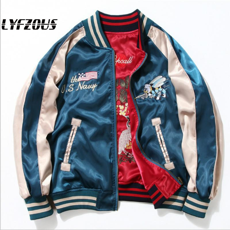 2020 New Spring Vintage Jacket Coat Yokosuka Embroidery Bee And Crane Satin Bomber Jacket Women Reversible Baseball Jackets
