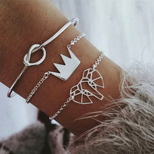 ZORCVENS 3 Pcs/Set Vintage Elephant Knot Crown Multilayer Bracelet Set Adjustable Open for Women