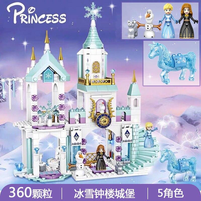 Кубики для девочек, принцесса, Снежная королева, ледяной замок, снег, креативные строительные блоки для друзей, городские фигурки, кирпичи, и...