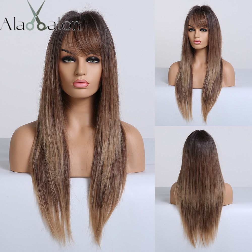ALAN EATON Black Brown Blonde Ombre Long Straight Wig With Bangs Synthetic Hair Wigs For Woman Heat Resistant Wigs Side Part