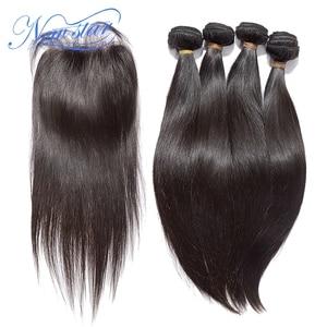 Image 1 - Новые бразильские прямые волосы STAR, 4 пряди, натуральные человеческие волосы для наращивания с кружевной застежкой 4x4, 100% искусственное плетение